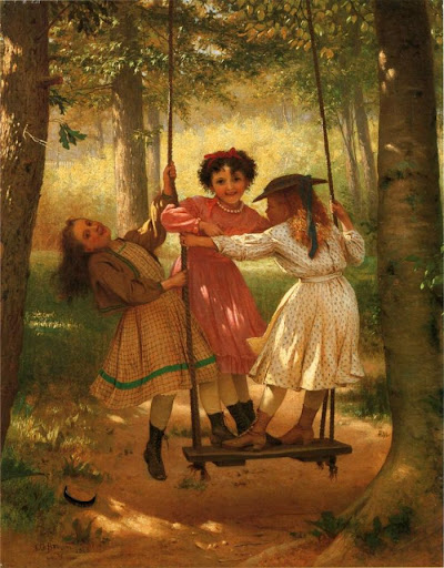 John George Brown - Three Girls on a Swing