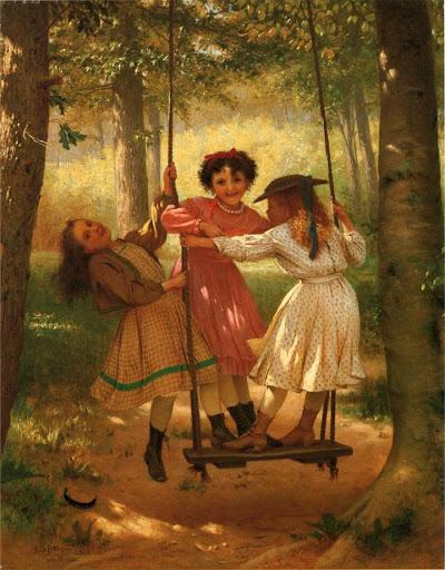 John George Brown - Three Girls on a Swing