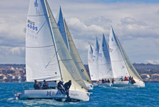 J/80 Russian championship- sailing upwind off Palma Mallorca, Spain