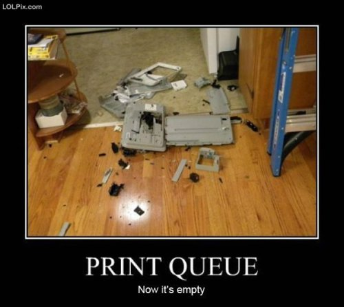 photo of a printer smashed on the ground
