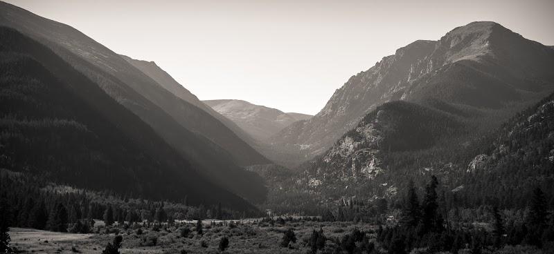 a hazy mountain valley