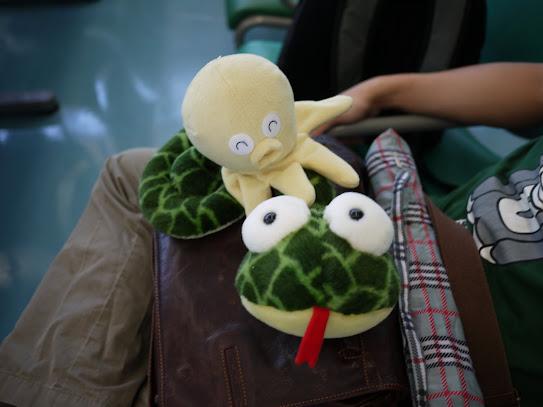 在桃園機場替捲捲和章魚底底拍個照^^(底下是眼蟲先生))