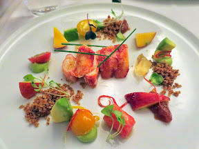 Bouillon Bilk in Montreal, lobster, tomato, chili, avocado, nectarine