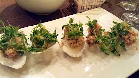 Todd English Food Hall, New York - Fried Oysters with caviar creme fraiche, lemon, and micro cilantro