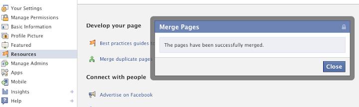 επιτυχημένη ένωση δύο Facebook σελίδων τοποθεσίας