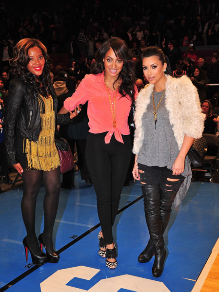 Flash's Ladies: Kim Kardashian, LaLa Vazquez And Angela Simmons At The Knicks Game!
