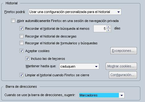 Fiefox 3.5: opciones de privacidad