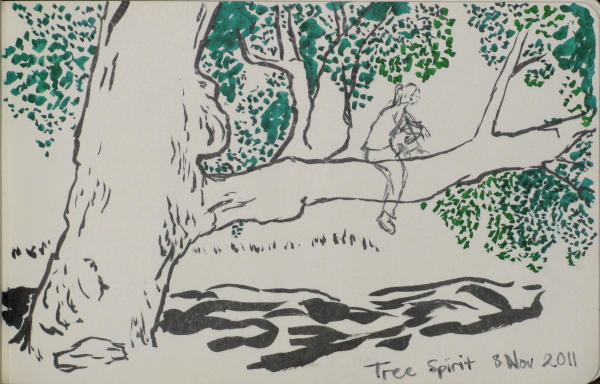 sketch of a large oak tree with large low branch extended far to the side