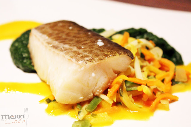Fajitas de bacalao y ceps con mouselina de ajo restaurante a domicilio Mejor en casa