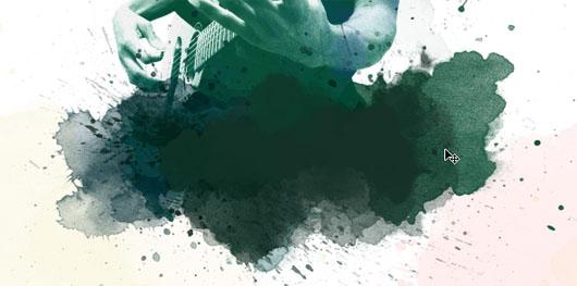 Faça a pintura da base com vários tons de verde, menos aguado onde vai o texto