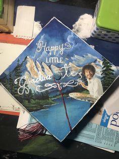"""A graduation cap that reads """"Happy little graduates."""""""