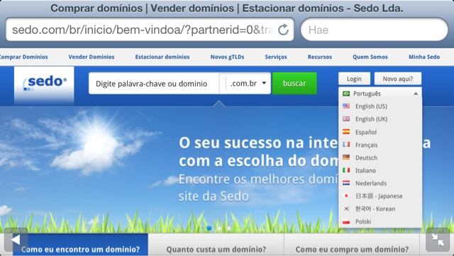 sedo portugese domain names