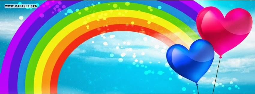 Capas para Facebook Arco-Íris e Balões