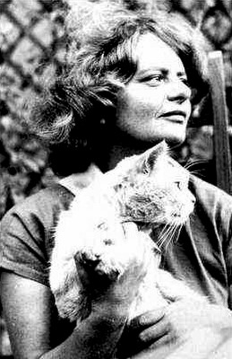 Elsa Morante and a cat