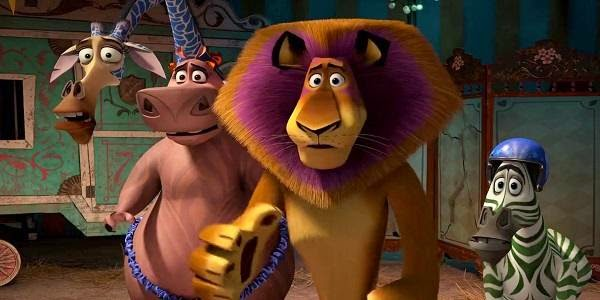Screen Shot Of Hollywood Movie Madagascar 3: Europe's Most Wanted (2012) In Hindi English Full Movie Free Download And Watch Online at Alldownloads4u.Com