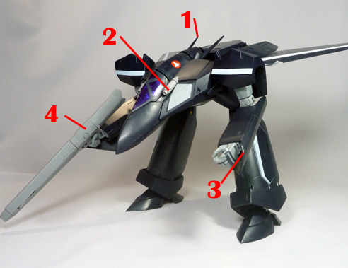 Macross 7 VF-17D Nightmare Armament weapon position