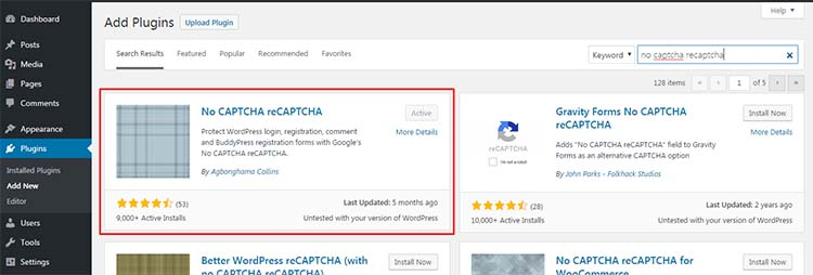 plugin No CAPTCHA reCAPTCHA