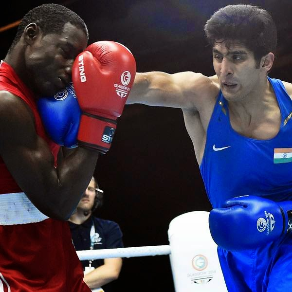 The tempo continued in the third round and Vijender won comfortably at the end.