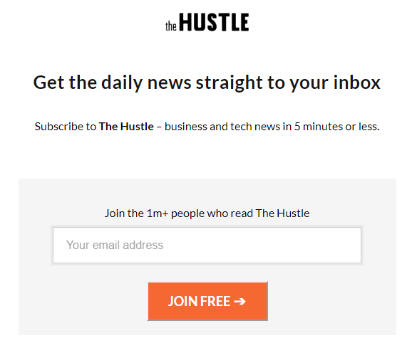 praktik copywriting di headline situs The Hustle