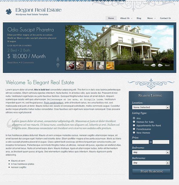 RealEstate WordPress Theme