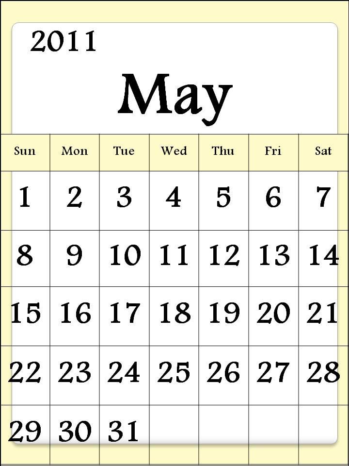 printable may calendar 2011. PRINTABLE MAY