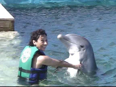 Carole Ann Ford and a dolphin
