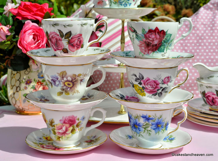 pretty floral eclectic vintage teacups set stacked
