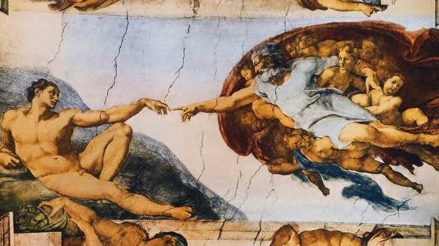 Famosa imágen de la Capilla Sixtina, pintada por Miguelángel y que representa, según la mentalidad de la época, el momento de la creación del Hombre.