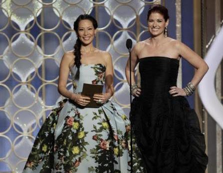 Lucy Liu accompanied by Carolina Herrera - Golden Globe 2013