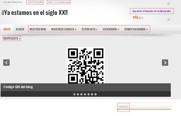 Captura de pantalla en la que se aclara los elementos con los que pretendemos facilitar la navegación por el blog