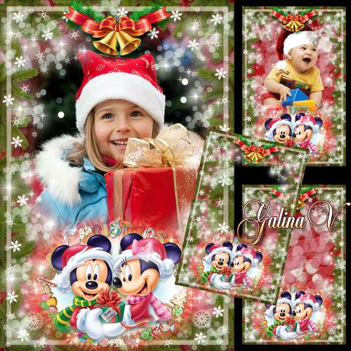 Детская рамка - Рождество с Минни и Микки Маусом