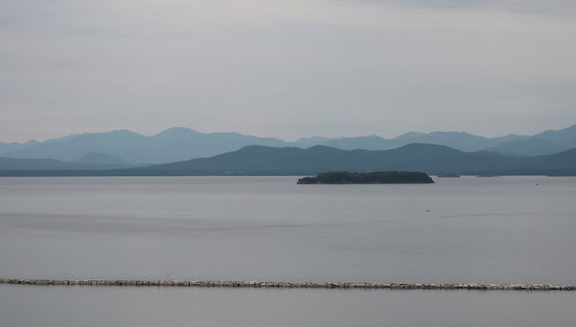 the view from Burlington Vermont out across Lake Champlain