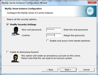 Set password in mysql server configuration