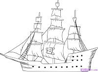 Pirate Ship simple drawing, How to draw a pirate ship, pirate ship