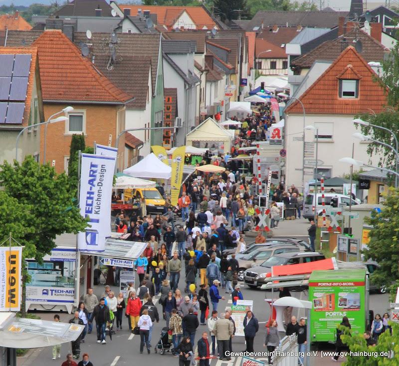 Blick vom Riesenrad auf das Marktgelände entlang der Offenbacher Landstraße in Hainburg/Hainstadt