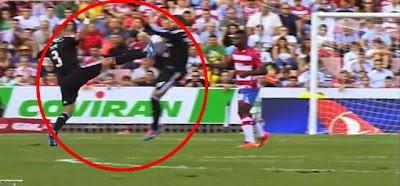 Pepe tem entrada assassina sobre Sergio Ramos durante o Granada 0 - 4 Real Madrid