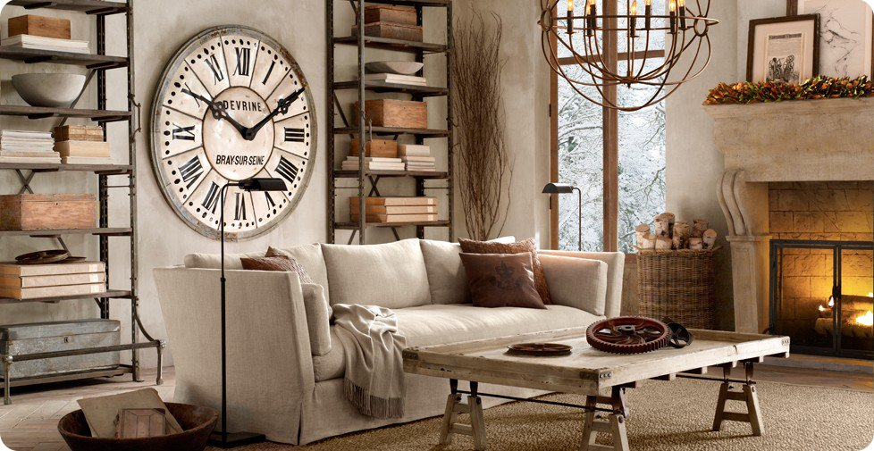 Industrial chic and french style home shabby home for Industrial chic living room