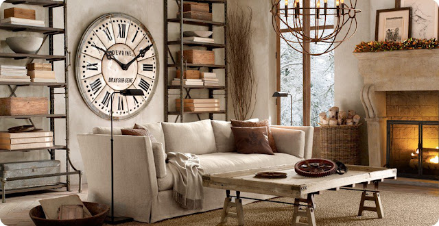 Industrial chic and french style home shabby home arredamento interior craft for Industrial style living room ideas