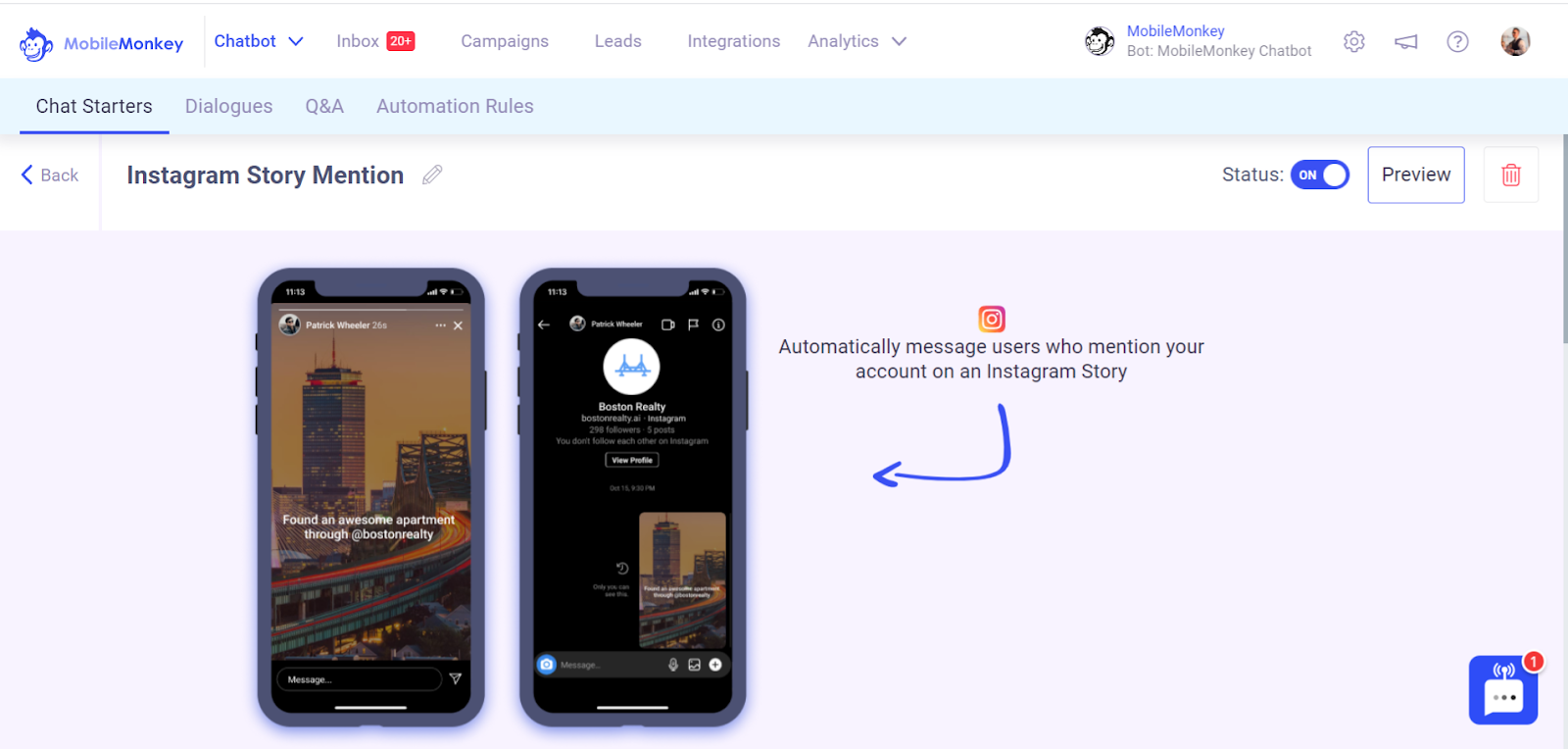 how to automatically message users who mention your account on an Instagram Story