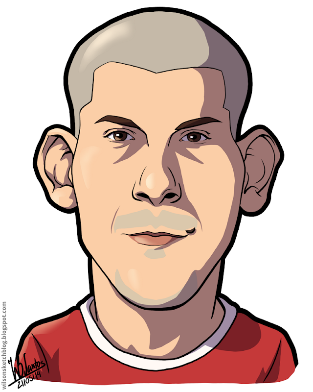Cartoon caricature of Maxi Pereira.