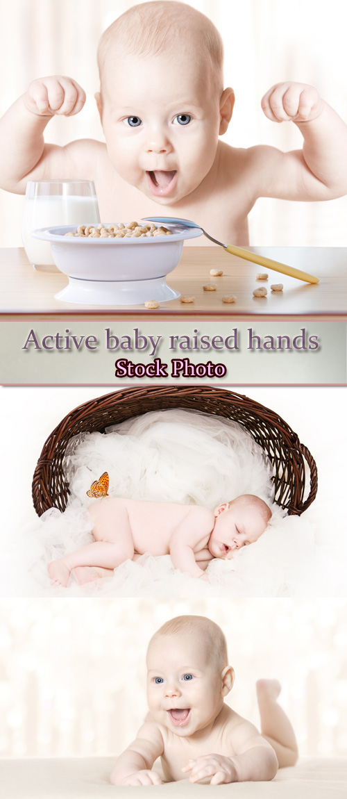 Stock Photo: Active baby raised hands up and smiling