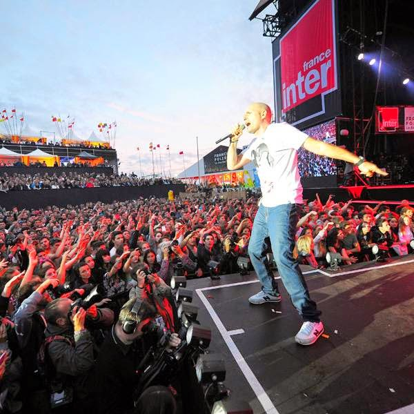 French rapper Akhenaton of the band IAM performs in La Rochelle on July 13, 2014 during the Francofolies Music Festival.