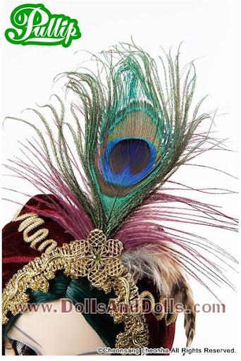 pullip saras: turbante pluma pavo real tocado