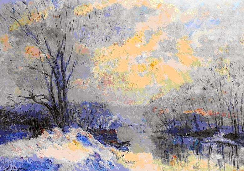 Albert Lebourg - The small branche of the Seine at Bras Meudon, Snow and Sunlight