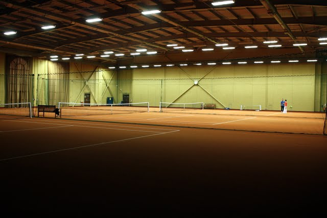 Indoor tennis courts at the Stoke Park Hotel in Buckinghamshire England