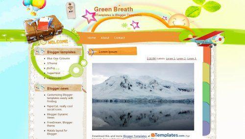 Green Breath template blogger