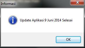 Klik tombol PROSES maka proses update akan terlaksana dan tunggu sampai muncul pesan sbb :