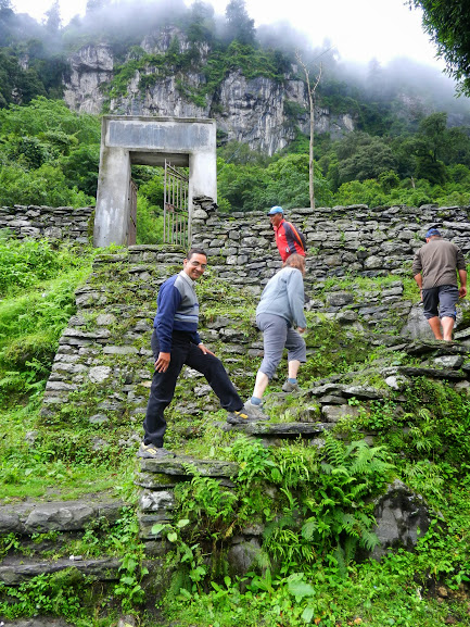 Members of the Manang Language Project Walking through Baggarchhp