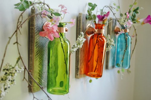 Colorful glass jar wall art, glass vase, pineknobsandcrickets.etsy.com