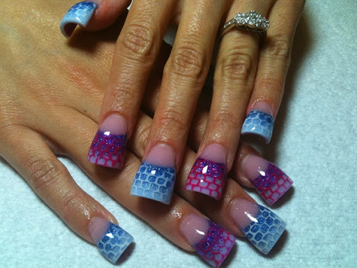 purple and blue with netting